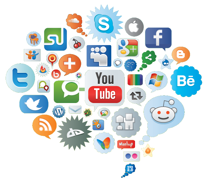 cloud of all kind of social-networks icons
