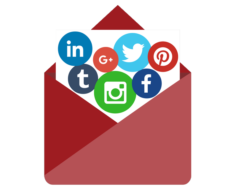 share email on social - red envelope and social icons coming out of it