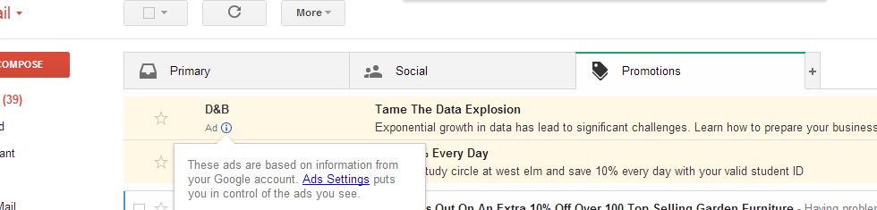 gmail tab for promotions