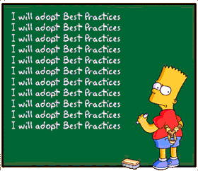 Bart from Simpsons is writing on green board I will adopt best practices