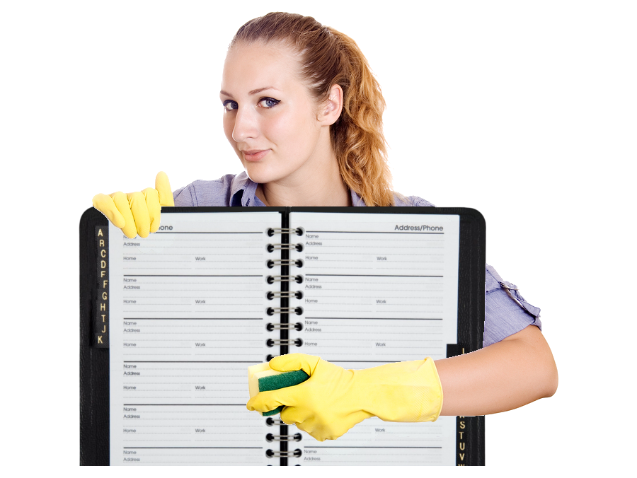 women is wearing gloves and cleaning adress book