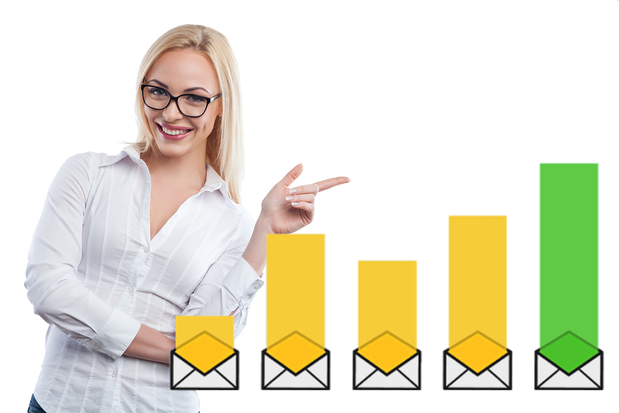 blonde woman with glasses pointing on the left, email marketing is growing