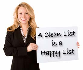 Young Woman Holding a Sign A clean list is a happy list