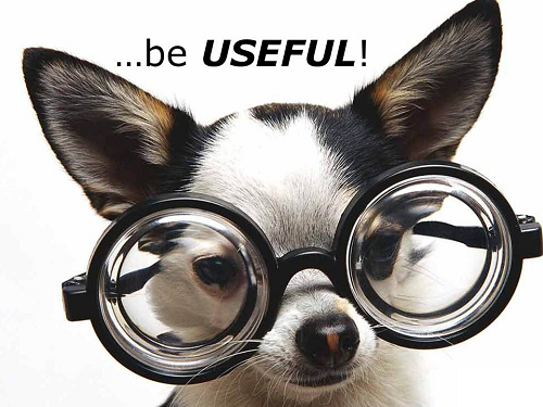 dog is wearing glasses and sign above him ...be useful